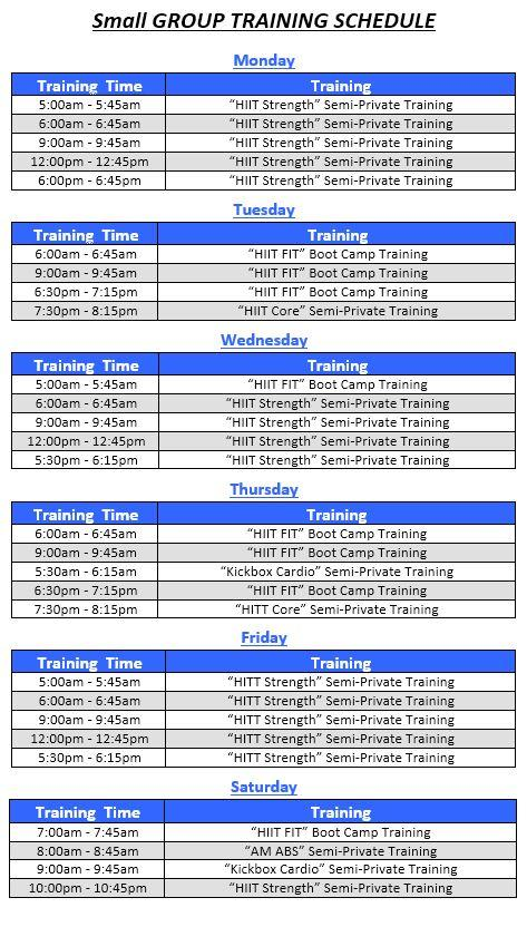 Fitness Boot Camp Schedule
