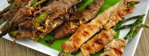 Delicious Teriyaki Rib Eye and Chicken Wrapped Asparagus