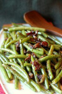 Healthy Bacon & Mustard Green Beans