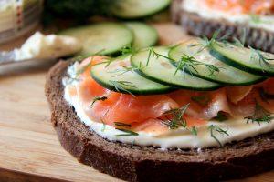 Healthy Grain Bread Open-Faced Salmon Sandwich