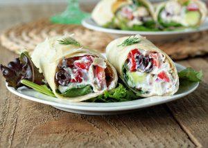 Healthy Veggies, Yogurt and Wrap Meal