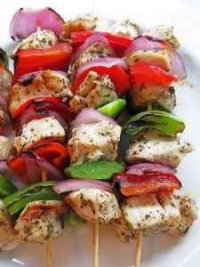 Protein Packed Baked Veggie and Chicken Skewers
